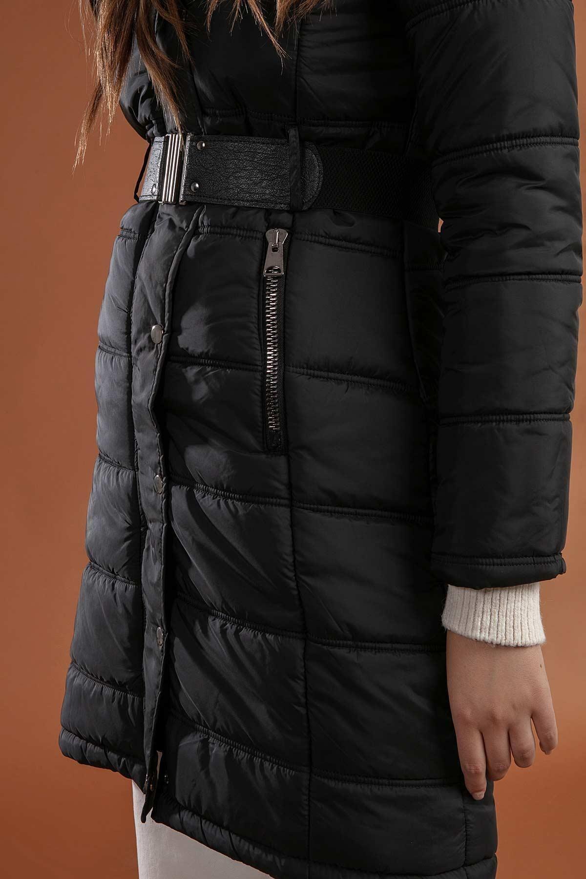 Y-London Kadın Siyah Kapşonu Kürklü Uzun Şişme Kaban Mont 5081 3