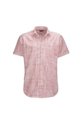 Büyük Beden Pembe Kısa Kollu Gömlek resmi