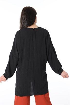 ZİNCiRMODA Kadın Siyah Bel Bağlamalı Arkası Uzun Tunik 2