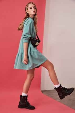 TRENDYOLMİLLA Mint Volanlı Kapüşonlu Örme Sweat Elbise TWOAW21EL0916 0