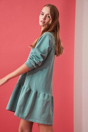 TRENDYOLMİLLA Mint Volanlı Kapüşonlu Örme Sweat Elbise TWOAW21EL0916 1
