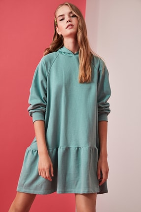 TRENDYOLMİLLA Mint Volanlı Kapüşonlu Örme Sweat Elbise TWOAW21EL0916 2
