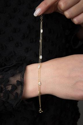 Elika Silver Kadın 2 Sıra Taşlı 925 Ayar Gümüş Bileklik 2
