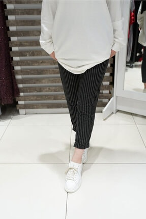 KAMİL KESKİN Kadın Siyah Çizgili Pantolon 1
