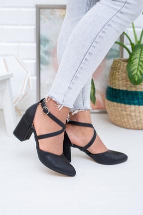 Moda Değirmeni Siyah Cilt Kadın Klasik Topuklu Ayakkabı Md1028-119-0001 0