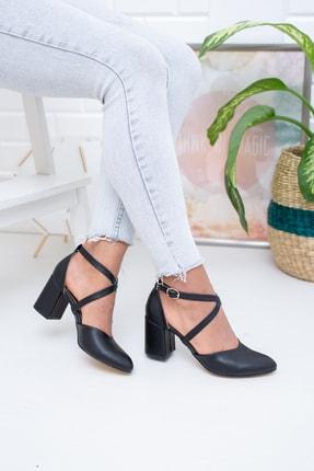 Moda Değirmeni Siyah Cilt Kadın Klasik Topuklu Ayakkabı Md1028-119-0001 1