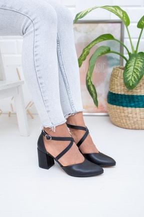 Moda Değirmeni Siyah Cilt Kadın Klasik Topuklu Ayakkabı Md1028-119-0001 2