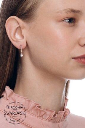 Valori Jewels 0.66 Karat Swarovski Zirkon Beyaz Damla Taşlı, Rose Gümüş Kanca Küpe 1