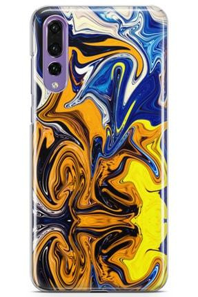 Lopard Huawei P20 Pro Kılıf Mavi Turuncu Mermer Arka Kapak Koruma Desenli Full Koruyucu 0