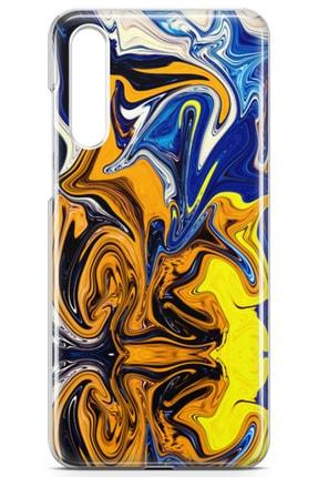 Lopard Huawei P20 Pro Kılıf Mavi Turuncu Mermer Arka Kapak Koruma Desenli Full Koruyucu 1