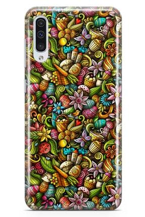 Lopard Samsung Galaxy A70 Kılıf Happy Doodle Arka Kapak Koruma Desenli Full Koruyucu 0