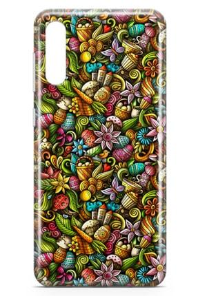 Lopard Samsung Galaxy A70 Kılıf Happy Doodle Arka Kapak Koruma Desenli Full Koruyucu 1