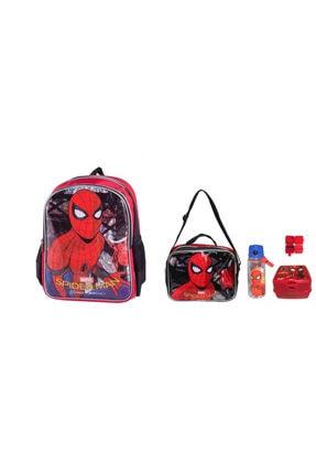 Spiderman Okul Çantası 4lü Okul Seti ( Çanta Beslenme Matara Yemek Kabı) 0