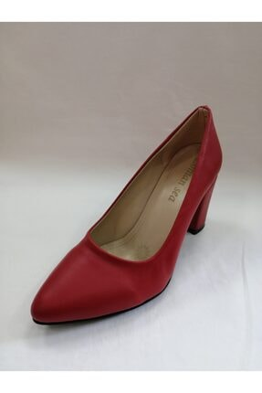Lonian Sea Kadın Kırmızı Kalın Topuk Stiletto 0