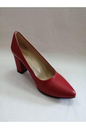 Lonian Sea Kadın Kırmızı Kalın Topuk Stiletto 2