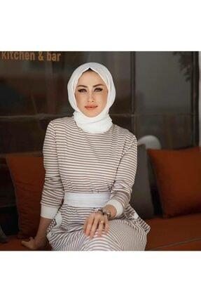 Qimene Kadın Bej Çizgili Penye Elbise 0