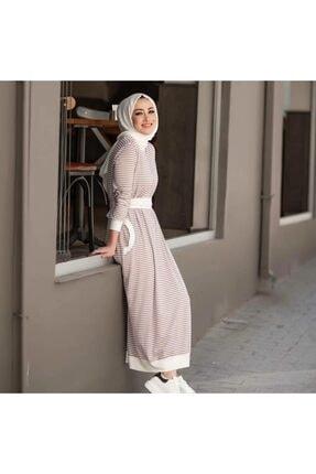 Qimene Kadın Bej Çizgili Penye Elbise 1