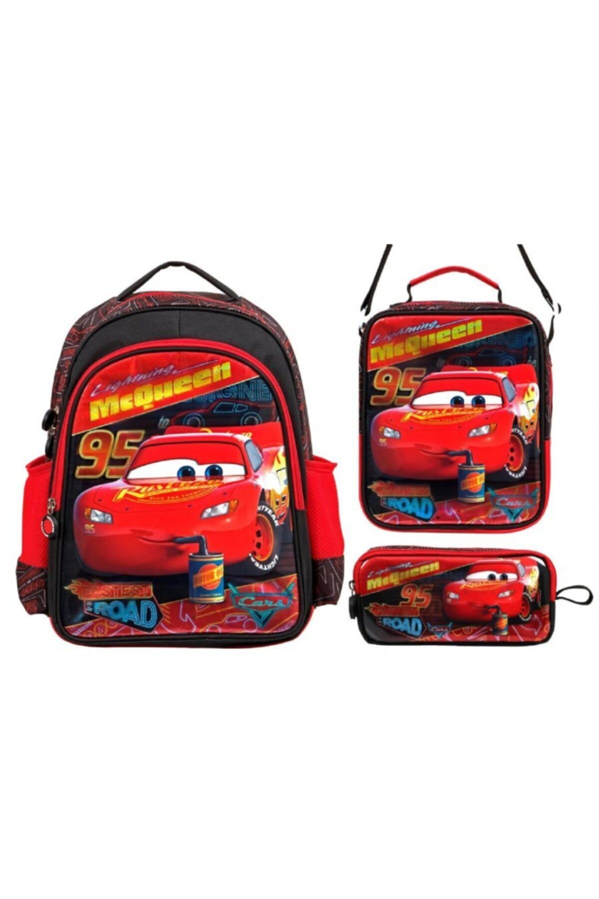 Erkek Çocuk Disney Cars Şimşek Mcqueen Kırmızı İlkokul Çanta Seti