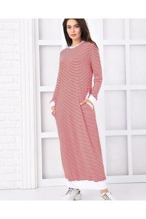 Qimene Kadın Kırmızı Çizgili Penye Elbise 0