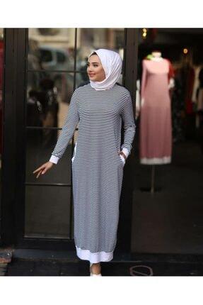 Qimene Kadın Kırmızı Çizgili Penye Elbise 1
