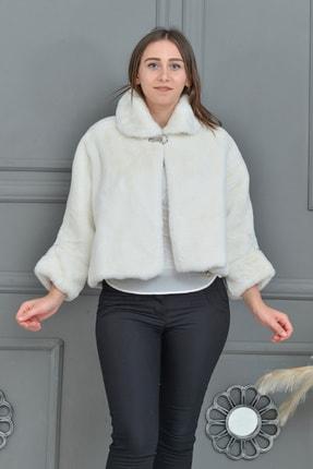 Tuhanakürk Kadın Beyaz Panço 0