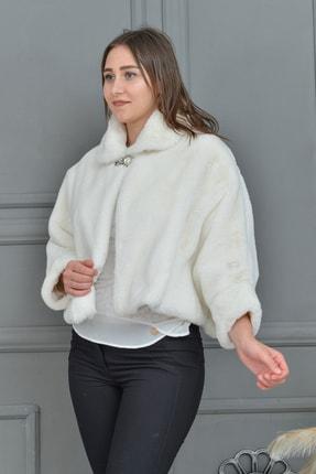 Tuhanakürk Kadın Beyaz Panço 1