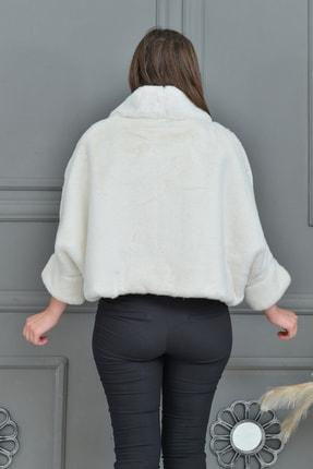 Tuhanakürk Kadın Beyaz Panço 2