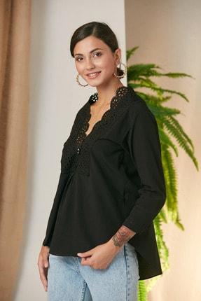 MONAMORE Kadın Sıyah Yakası Dantel Detaylı Bluz 1