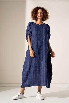 Camena Puantiye Çizgili Keten Elbise 2019070500190 0