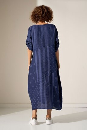 Camena Puantiye Çizgili Keten Elbise 2019070500190 2