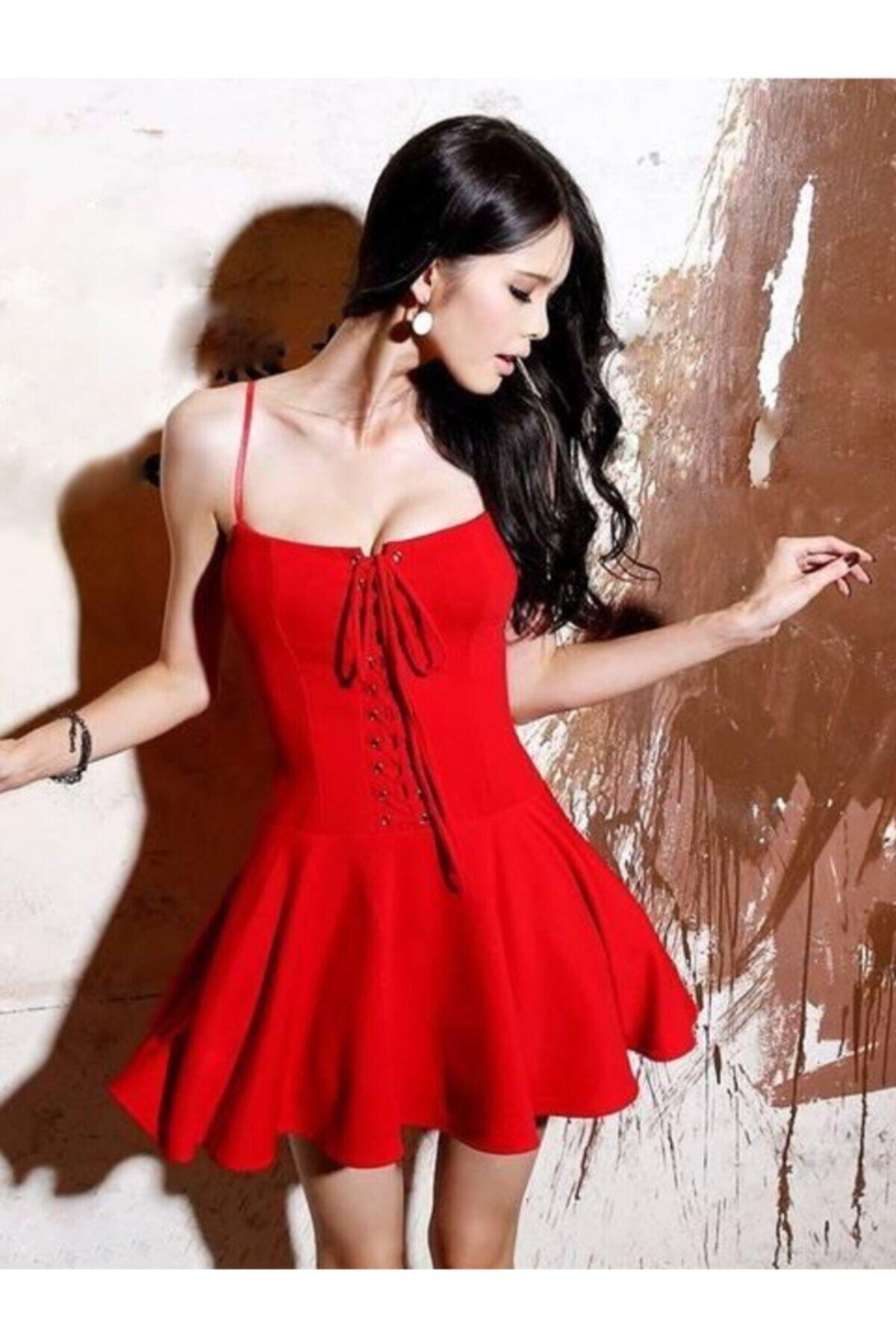 Esnek Dalgıç Kumaş Önden Bağcık Detaylı Askılı Kırmızı Kiloş Elbise Red Mini Dress
