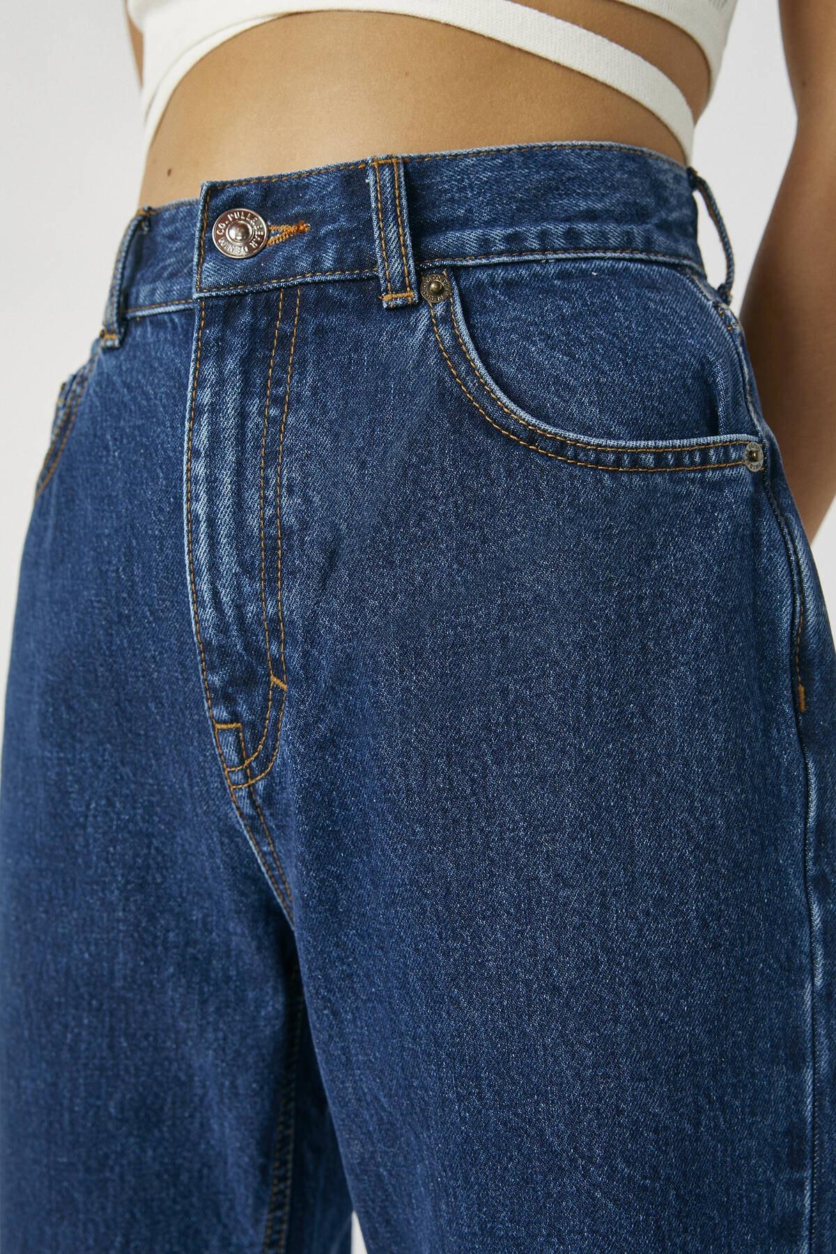 Pull & Bear Kadın Koyu Mavi Basic Mom Fit Jean 09683320 1