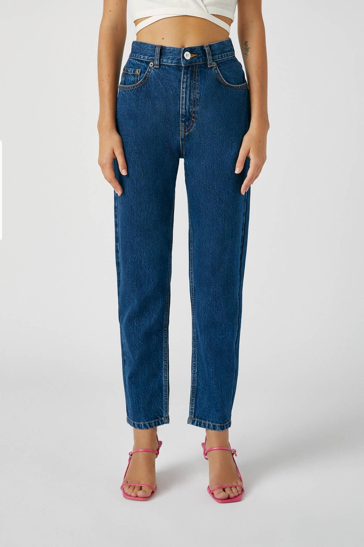 Pull & Bear Kadın Koyu Mavi Basic Mom Fit Jean 09683320 2