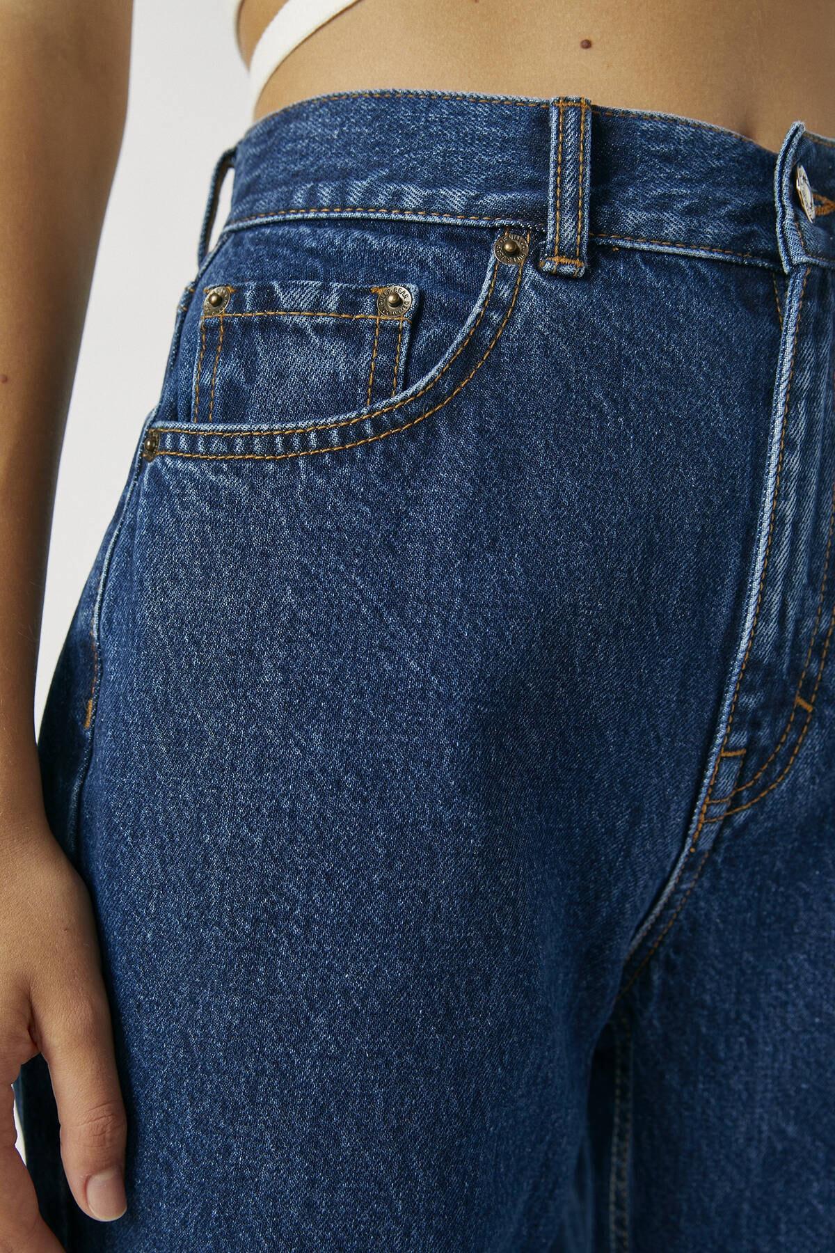 Pull & Bear Kadın Koyu Mavi Basic Mom Fit Jean 09683320 4