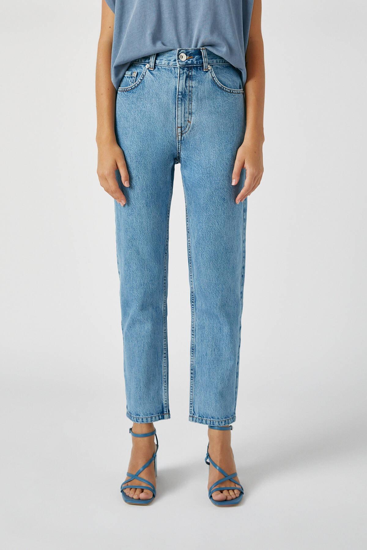 Pull & Bear Kadın Orta Mavi Basic Mom Fit Jean 09683320 0