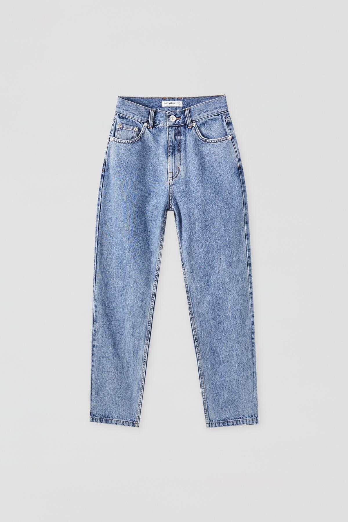 Pull & Bear Kadın Orta Mavi Basic Mom Fit Jean 09683320 3