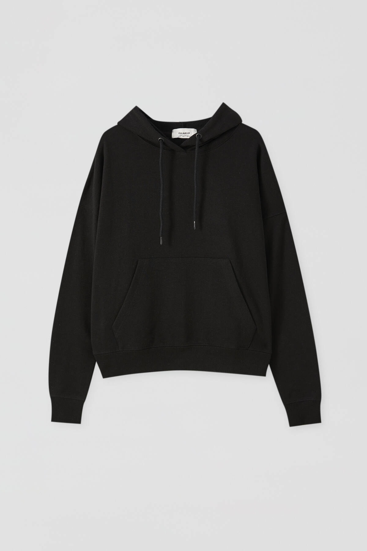 Pull & Bear Kadın Siyah Kanguru Cepli Kapüşonlu Sweatshirt 09594360 4