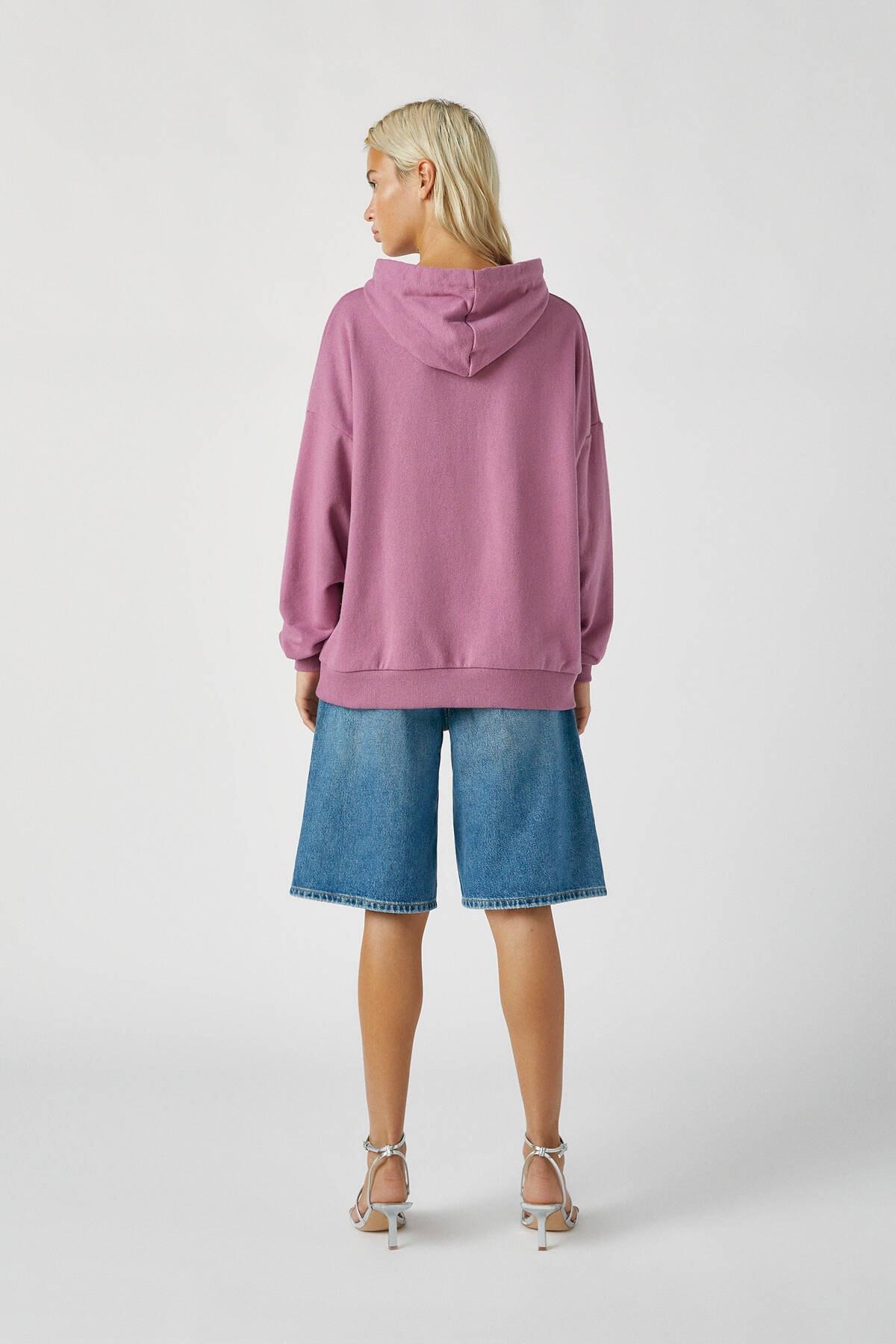 Pull & Bear Kadın Mor Renkli Kapüşonlu Sweatshirt 09594312 2