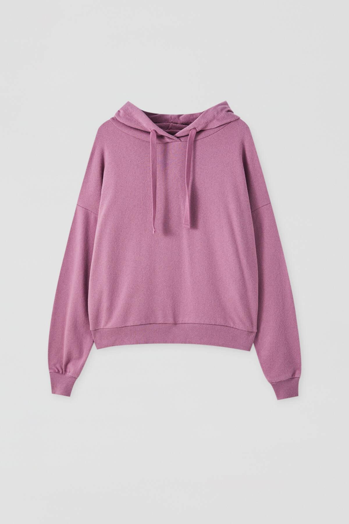 Pull & Bear Kadın Mor Renkli Kapüşonlu Sweatshirt 09594312 4