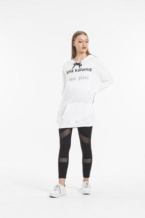 Primo Ricco Kadın Yazı Baskılı Cepli Ve Kapüşonlu Ekru Sweatshirt 2