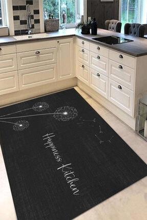 GARDENYA HOME Siyah Happiness Karahindiba Çiçeği Mutfak Halısı 0