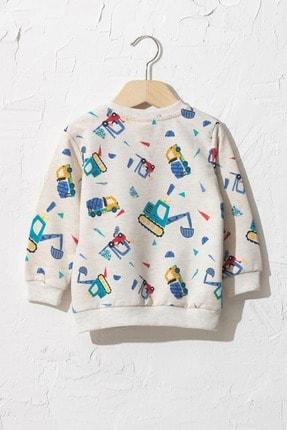LC Waikiki Erkek Bebek Mavi Baskılı Lqq Sweatshirt 1