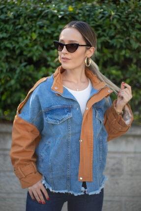 D&K Pick Up Kadın Kahverengi Kot Ceket 1