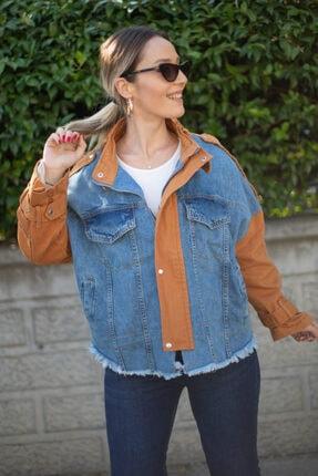 D&K Pick Up Kadın Kahverengi Kot Ceket 4