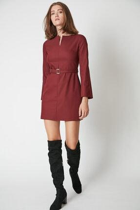 Kadın Bordo Kemer Detaylı Mini Elbise 5P527
