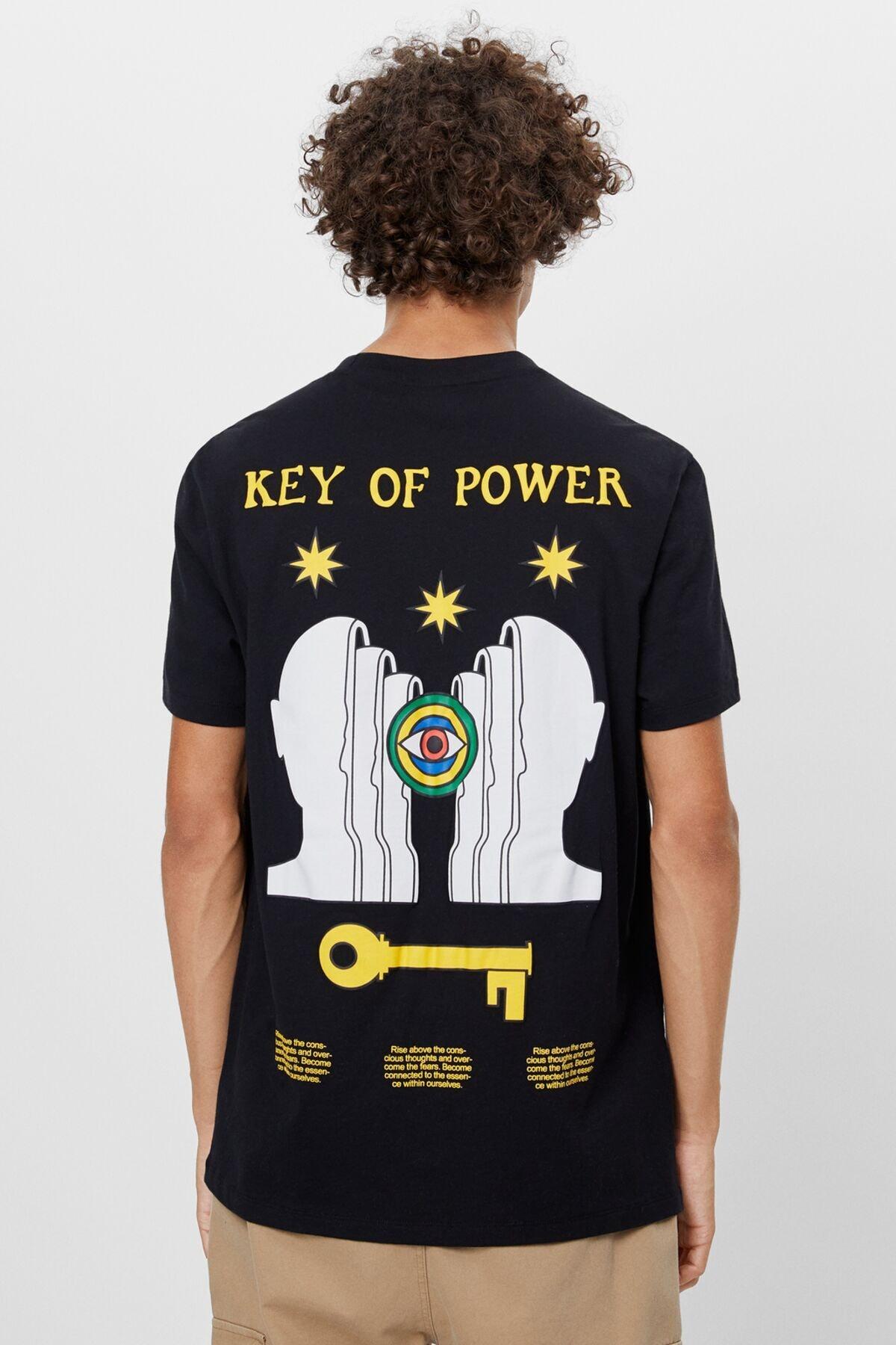 Bershka Kanat Desenli T-shirt 1