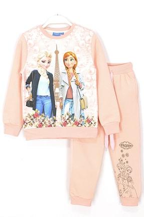 Frozen Kız Çocuk Somon Elsa ve Anna İçi Polarlı  Eşofman Takımı 0