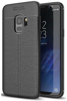 Samsung Galaxy S9 Kılıf Deri Görünüm Sert Karbon Kapak 0