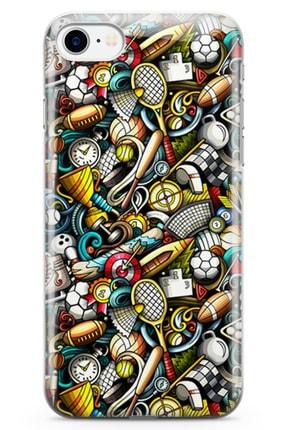 Lopard Apple Iphone 7 Kılıf Sporcu Doodle Arka Kapak Koruma Desenli Full Koruyucu 0