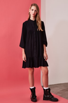 TRENDYOLMİLLA Siyah Geniş Kesim Gömlek Elbise TWOAW21EL0169 1